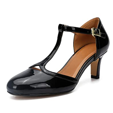 3bb383feb810a fereshte Women Ankle Strap Mid Kitten Heel Work Dress Pumps Shoes Round-Toe  A# Patent