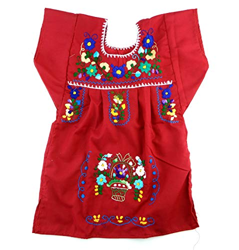 Mexican Clothing Size 2 Baby Girls Mexican Dress Tehuacan Color Red Fiesta Mexicana 5 de Mayo Halloween