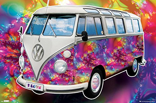 Laminated VW California Camper - Love Poster 34 x 22in