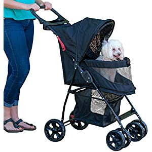 Pet Gear No-Zip Happy Trails Lite Pet Stroller, Zipperless Entry, Jaguar