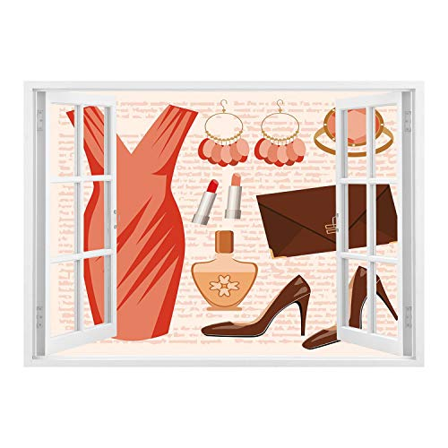 SCOCICI Wall Mural, Window Frame Mural/Heels and Dresses,Accessories Fashion Cocktail Dress Lipstick Earrings High Heels Decorative,Salmon Brown Peach/Wall Sticker Mural -