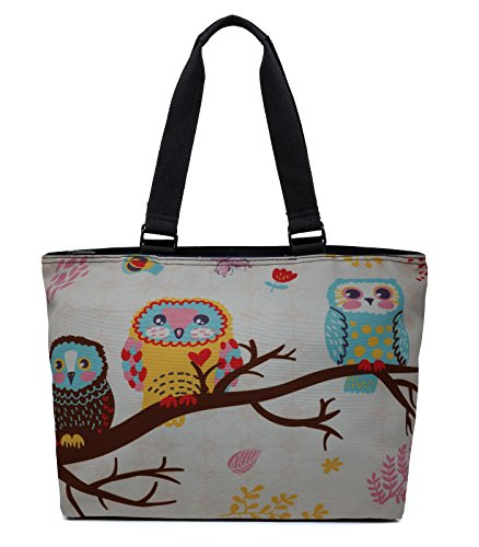 Printed Canvas Spacious Large Travel Shoulder Tote Bag Handbag - Three Owls -