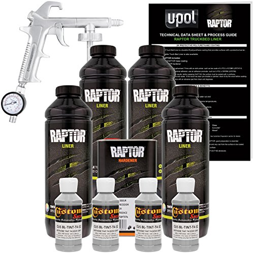 U-POL Raptor Dove Gray Urethane Spray-On Truck Bed Liner Kit w/ FREE Custom Shop Spray Gun with Regulator, 4 Liters - Best Truck Bed Liner