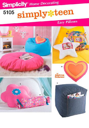 Bean Bag Sewing Pattern - Simplicity Andrea Schewe Simply Teen Pattern 5105 Easy Pillow Variations, Beanbag Chair, and Ottoman