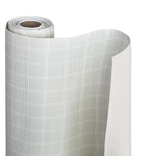 Smart Design Shelf Liner w/Bonded Grip - Wipes Clean & Cutable Material - Non Slip Design - for Shelves, Drawers, Flat Surfaces - Kitchen (12 Inch x 10 Feet) [Fleur Gris]