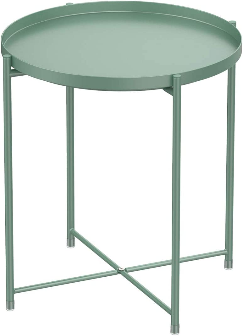 Tray Metal Round End Table,Green Folding Small Side Table Outdoor & Indoor Accent Coffee Table for Small Spaces,Bedroom,Patio
