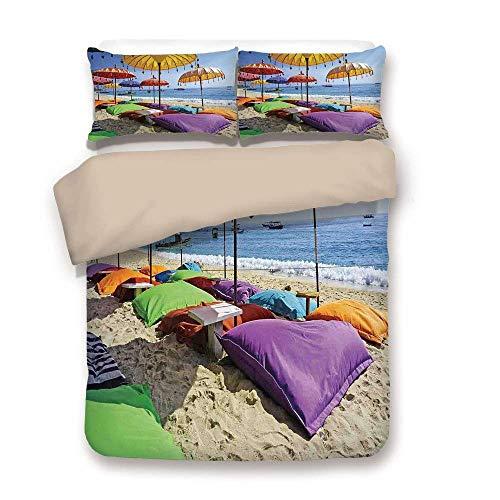 - Yaoni Duvet Cover Set,Back of Khaki,Balinese Decor,Pristine Beach Bathed by The Bali Sandy Seashore Daytime Umbrellas Pillows Leisure,Decorative 3 Pcs Bedding Set by 2 Pillow Shams,Queen