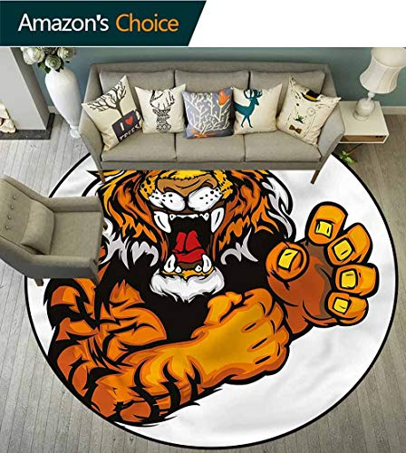 RUGSMAT Tiger Round Rugs for Bedroom,Cartoon Angry Wild Cat Non-Skid Bath Mat Living Room/Bedroom Carpet Diameter-63