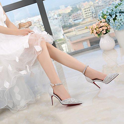 Fata con estate Fine e sposa tacco del 5cm da prom appuntito cristallo matrimonio autunno stare YLLHX 7 donna alto Scarpe Sandali Damigella singoli insieme Scarpe Primavera da qwvWx6BIZ