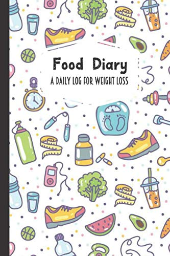 Food Diary A Daily Log for Weight Loss: Fruit Vegetable Sports Themed 30 Day Detailed Tracker for Carbohydrates, Protein & Sugar Intake