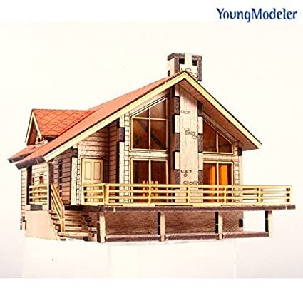 Young Modeler HO Serises Desktop Wooden Model Kit_Garden House A with a  large deck(YM 633) : Miniature Catapult Kit,Model Building Kits hobby toy  Game