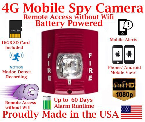 AES ThirdEye 4G LTE Cellular Mobile 1080P HD Fire Alarm Strobe Light Spy Camera // 60 Day Run-time Battery Powered Wireless Remote Live stream Spy Gadget ( Remote View, Remote Playback, Mobile Alerts)
