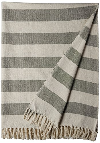 "DII Rustic Farmhouse Cotton Cabana Striped Blanket Throw with Fringe For Chair, Couch, Picnic, Camping, Beach, & Everyday Use, 50 x 60"" - Cabana Striped Artichoke -  - blankets-throws, bedroom-sheets-comforters, bedroom - 51YW3a%2BYLYL -"