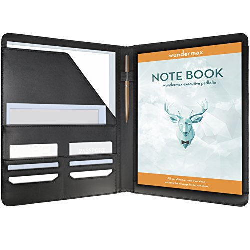 Wundermax Padfolio Portfolio Executive Leather Padfolio - Bonus Wallet - Bookmark & Notebook - Professional Gift for Business - Interview - Resume - Black