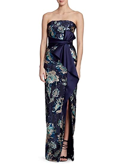 c8dcc89ade Marchesa Notte Women's Strapless Sequined Peony Evening Gown 6 Navy at  Amazon Women's Clothing store: