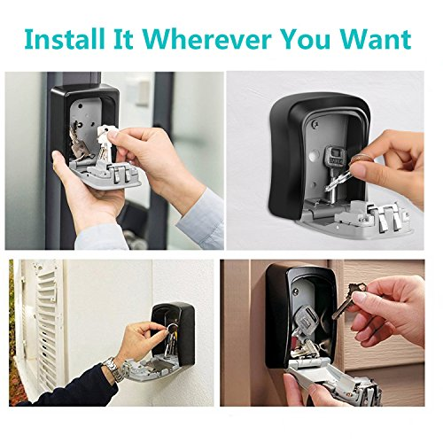 KIPRUN Key Storage Lock Box, 4-Digit Combination Lock Box, Wall Mounted Lock Box, Resettable Code (Circular) by KIPRUN (Image #2)