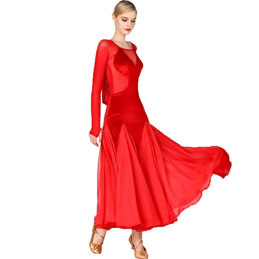日本未入荷 現代のセクシーな視点現代のダンスのスカートのドレスワルツのダンスのスカートのドレスメッシュベルベットのステッチ社交ダンスのワルツ社交ダンスの衣装 レッド B07Q3DF2YT M|レッド M レッド B07Q3DF2YT M, チョコレート専門店マキィズ:22cde08b --- a0267596.xsph.ru