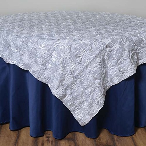 LinenTablecloth Rosette Satin Square Overlay Tablecloth, 72-Inch, White ()