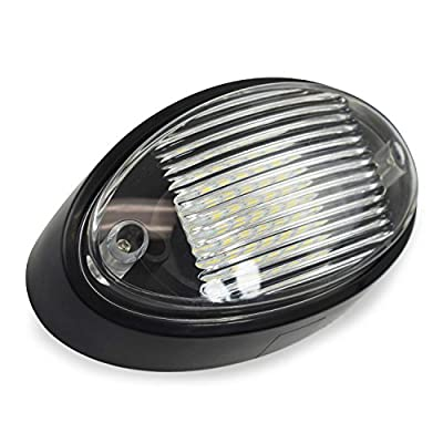 2 LED RV Exterior Porch Utility Light Oval 12v 300 Lumen Lighting Fixture Replacement Lighting for RVs, Trailers, Campers, 5th Wheels. Black Base, Clear and Amber Lens (Black No Switch, 2-Pack): Automotive