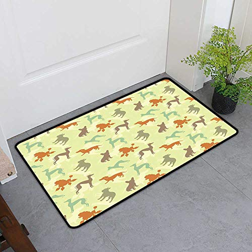 Custom&blanket Magic Doormat, Dog Lover Doormats for High Traffic Areas, French Bulldog Greyhound Poodle Terrier Silhouette Pure Breed Animals Canine Type (Multicolor, H32 x -