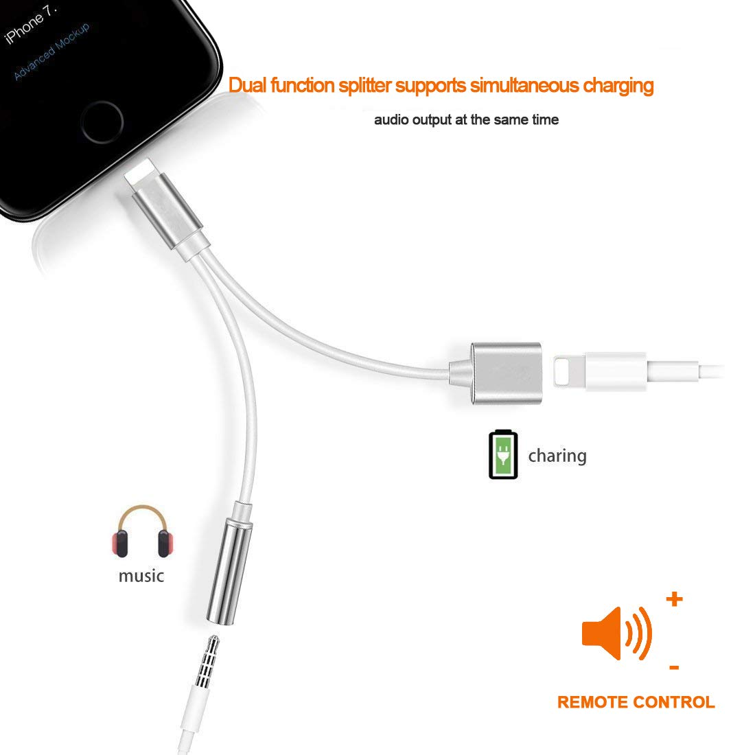 Pritaz for iPhone Adapter Headphones to 3.5 mm Headphone Jack Adapter for iPhone Xs//Xs Max//XR// 8//8 Plus 7//7 Plus.2 in 1 Earphone Splitter Car Charger Adapter Cables /& Audio Support All iOS Systems