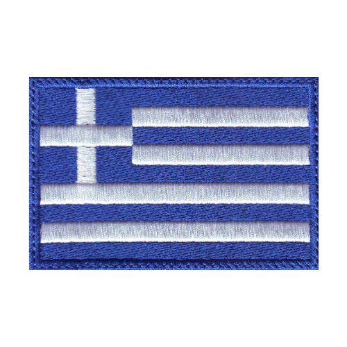 Greece Flag Embroidered Patch with Velcro® Backing