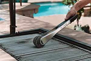 GrillScrubber , the barbecue grill scrub brush with replaceable stainless steel scouring pads.