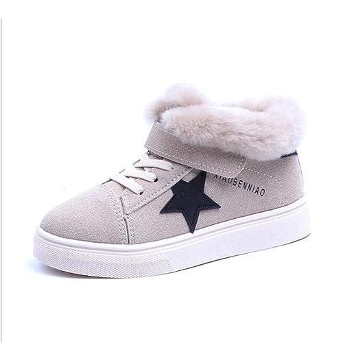 Zapatos de Invierno para niños Zapatos Altos y cómodos para niñas Zapatos Deportivos de Felpa con Velcro Moda para niños Zapatillas Negras Niño Zapatos de ...