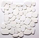 White Jade Flat Natural Pebble Stone Mosaic Tile / Sample