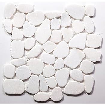 Amazon.com: Blanco Jade Flat Natural mosaico de piedra/10 ...