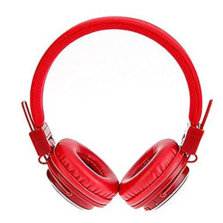 Micro SD//TF Card Notebook Red FM Radio,3.5mm Detachable Cable Stereo Hands-Free for Mobile Phone U-009 Foldable Wireless Bluetooth Earphone Headset with Microphone Tablet PC Gaming