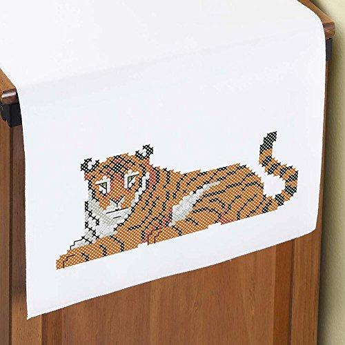 Herrschners® Tiger Dresser Scarf Stamped (Dresser Scarf Stamped Cross Stitch)