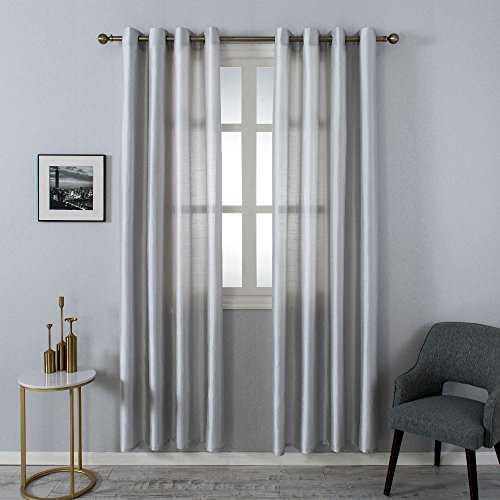 Natural Lined Curtains - Grace Duet Opal Selection Semi Sheer Gauzy Shimmery Curtains Natural Light Flow Faux Silk Durable Material Window Curtain Lined Drapes Treatment 2 Panels (54 x 63, Silver birch)