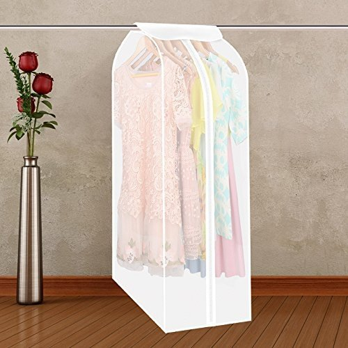 Aimyoo 2pcs a Set Waterproof Transparent Clothing Care Garment Clothes Protector Wardrobe Hanging Storage Bag Dust Cover with Magic Tape and Zipper (Transparent + Camphor Tree)