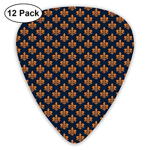(Guitar Picks 12-Pack,Victorian Floral Pattern Of Orange Color And Curly Ornaments Gothic Era)
