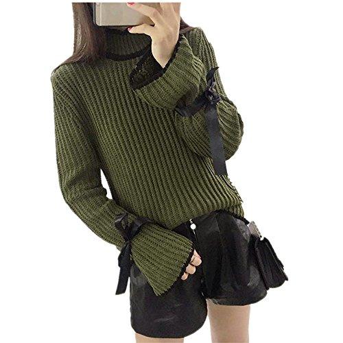 WOCACHI Damen Pullover Herbst Winter Frauen Cotton Elastic Twist Gestrickte Langarm Pullover (One Size, Grün)
