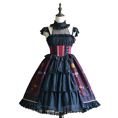 Gothic Halter Strapped Lolita Dress for Women Evil Pumpkin Printing Sleeveless (Black, XS) from yingluofu