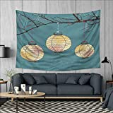 Anhuthree Lantern Wall Hanging Tapestries Three Paper Lanterns Hanging on Branches Lighting Fixture Source Lamp Boho Large tablecloths 84''x54'' Teal Pale Yellow