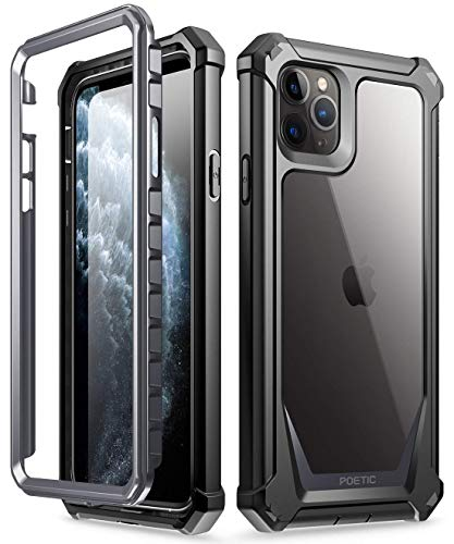 iPhone 11 Pro Max Case, Poetic Full-Body Hybrid Shockproof Ruggec Clear Bumper Cover, Built-in-Screen Protector, Guardian Series, Case for Apple iPhone 11 Pro Max (2019) 6.5 Inch, Black/Clear