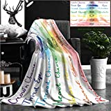 "Nalagoo Unique Custom Flannel Blankets Chakra Decor Brushstroke Inspired Lotus Pose Chakra Spots In The Body Faith And Harmony Icon Super Soft Blanketry for Bed Couch, Twin Size 70"" x 60"""