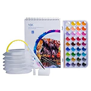 MEEDEN 36 Colours Watercolour Paint Set with Paint Brush, Water Brush Pen, Watercolour Paper Pad, Travel Brush Washer and Sponge for Kids Students Beginners School