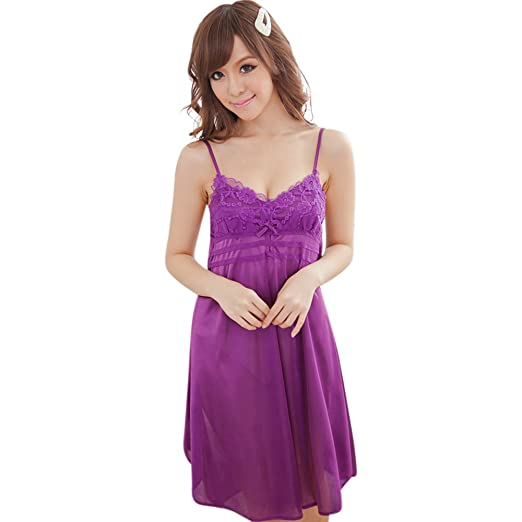 32d8045226bb Polytree Women Sexy Lace Suspender Nightwear Sleepwear Robes Imitation Silk Night  Dress (Dark Purple )