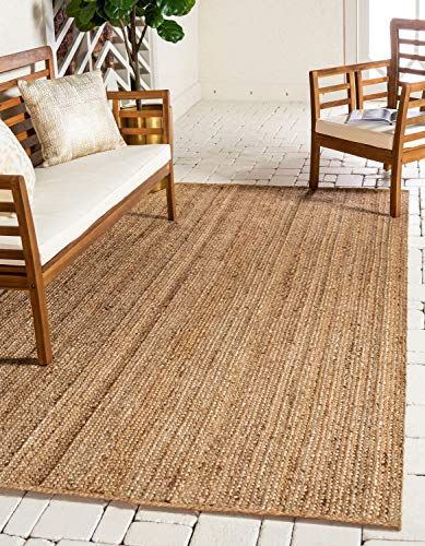 Unique Loom Braided Jute Collection Hand Woven Natural Fibers Natural Area Rug (8' x 10')