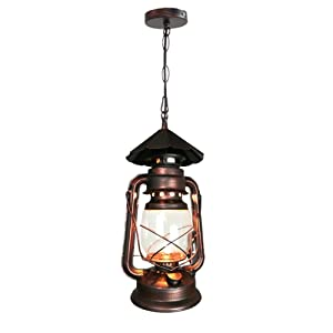 Yue Jia Rustic Lantern Pendant Lamp Industrial Vintage Style Glass Shade Lighting Fixture for Living Dining Room Kitchen Restaurant (1 Piece) W7 x H15