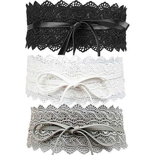Womtop Women Lace Belt Bow Tie Wrap Faux Leather Boho Band Corset 3-Pack Waist Belts Obi Style Junior Waist Belt (A(Black+White+Gray), Free)