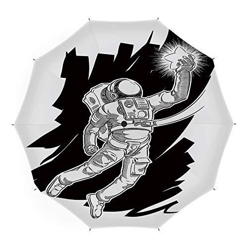 Travel Umbrella,Astronaut,Auto Open Close Umbrella 45 Inch,Sketch of Spaceman Grabbing a Star Achivement Discovery Zero Gravity Technology Decorative