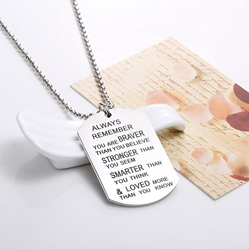 Udobuy Stainless Steel Pendant Always Remember You Are Braver Than You Believe Inspirational Letters Engraved Charm Necklace