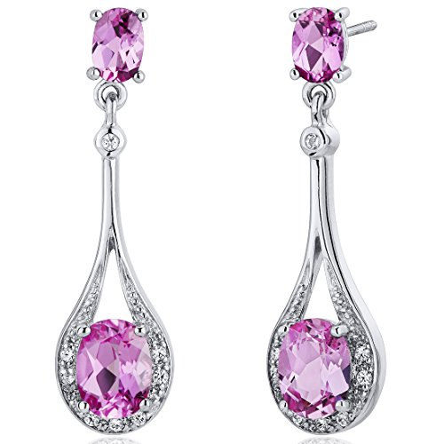 Synthetic Sapphire Earrings - Created Pink Sapphire Dangle Earrings Sterling Silver 4.50 Carats