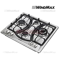Ships From CA, USA 23 Elegant Curve Stainless Steel 4 Burners Stove NG/LPG Gas Hob Cooktop Cooker