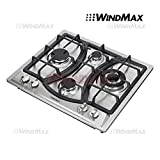 Ships From CA, USA 23'' Elegant Curve Stainless Steel 4 Burners Stove NG/LPG Gas Hob Cooktop Cooker